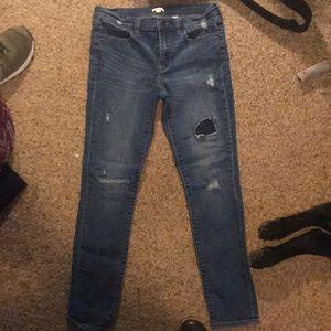 J-crew skinny distressed jeans